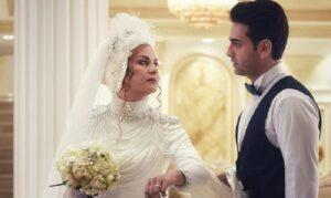 مریلا زارعی در لباس عروس در کنار همسرش در فیلم مانکن