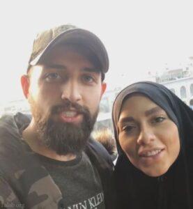 محسن افشانی و همسرش در پیاده روی اربعین