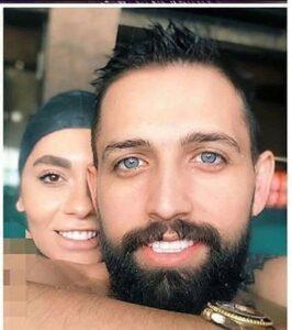 محسن افشانی و همسرش در استخر